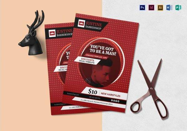 modern barbershop flyer template in indesign format 600x420