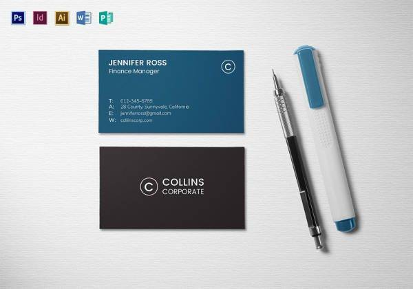 modern corporate business card template 600x420