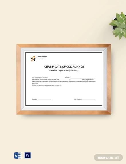organization compliance certificate