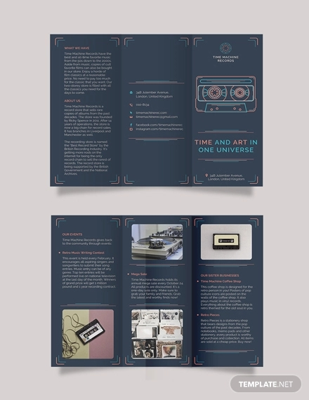 retro business tri fold brochure template
