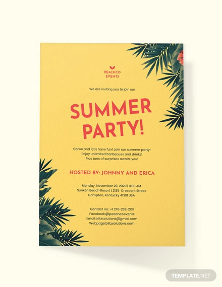 summer party invitation example