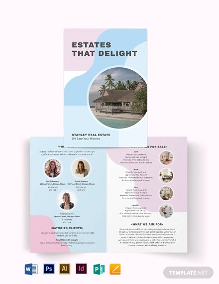 summer vacation rental bi fold brochure template