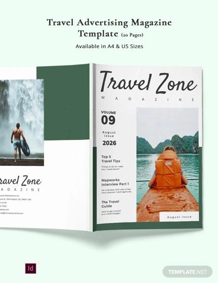 travel advertising magazine template