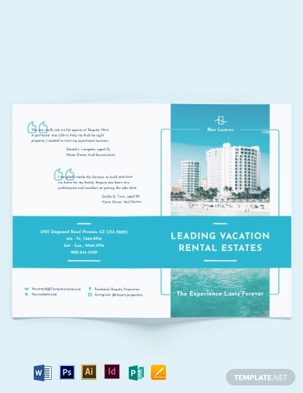 vacation rental management bi fold brochure template