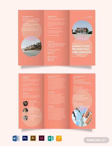 vacation rental tri fold brochure template