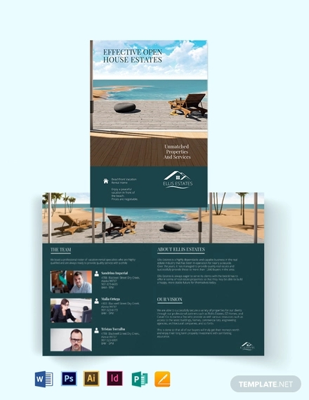 vacation rental sale bi fold brochure template