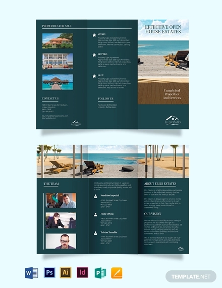 vacation rental sale tri fold brochure template