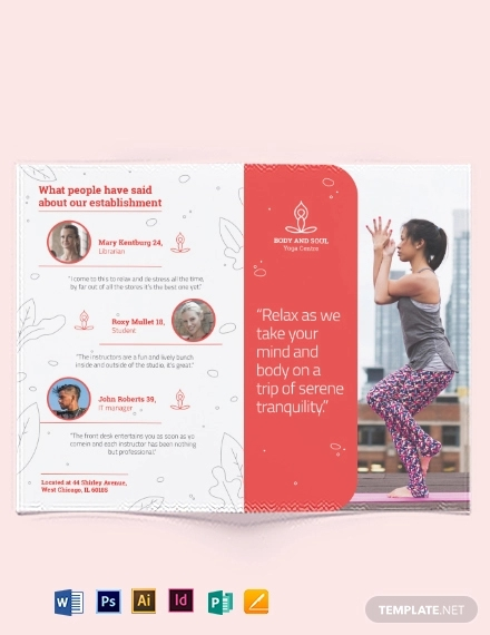 yoga instructor bi fold brochure template