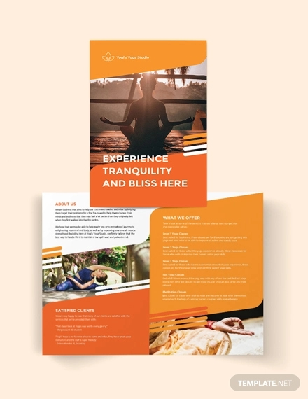 yoga studio bi fold brochure template