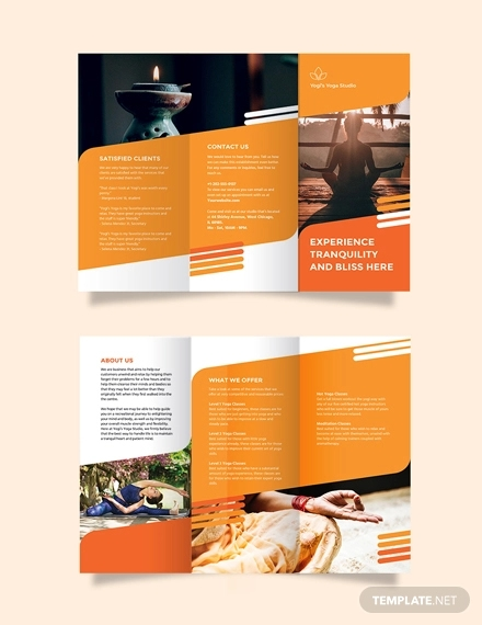 yoga studio tri fold brochure template