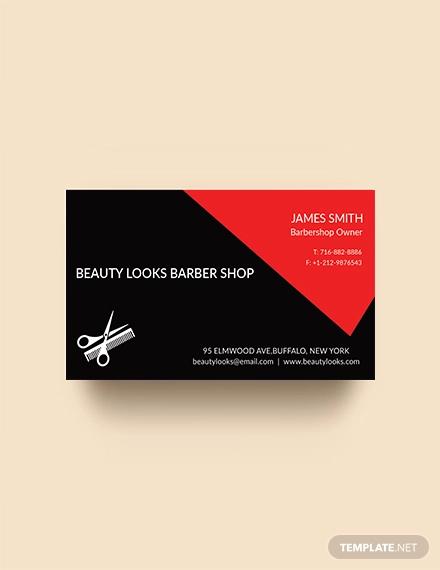 free barbershop business card