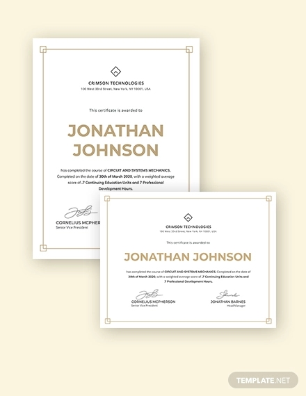 simple certificate of compliance