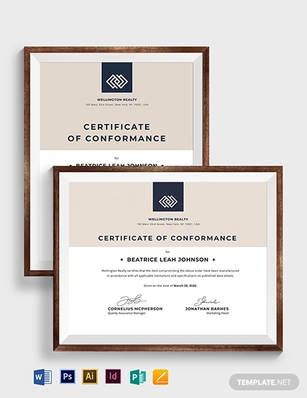 vintage certificate of conformance
