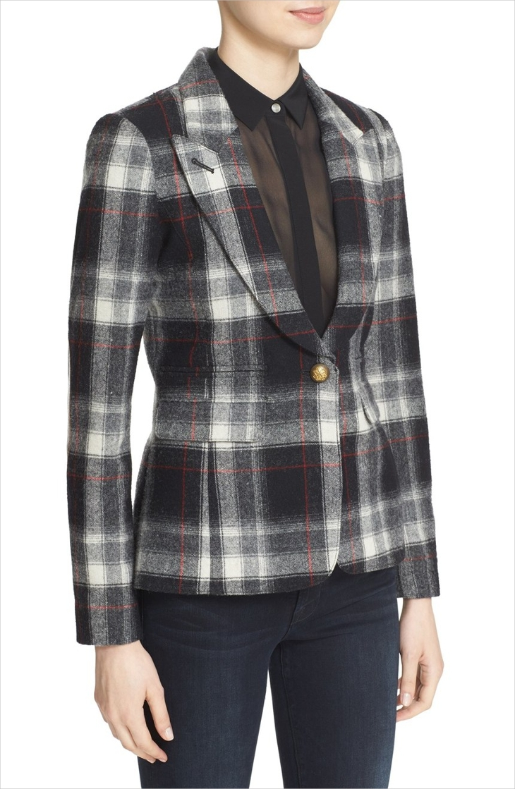 Plaid Wool Jacket for Women