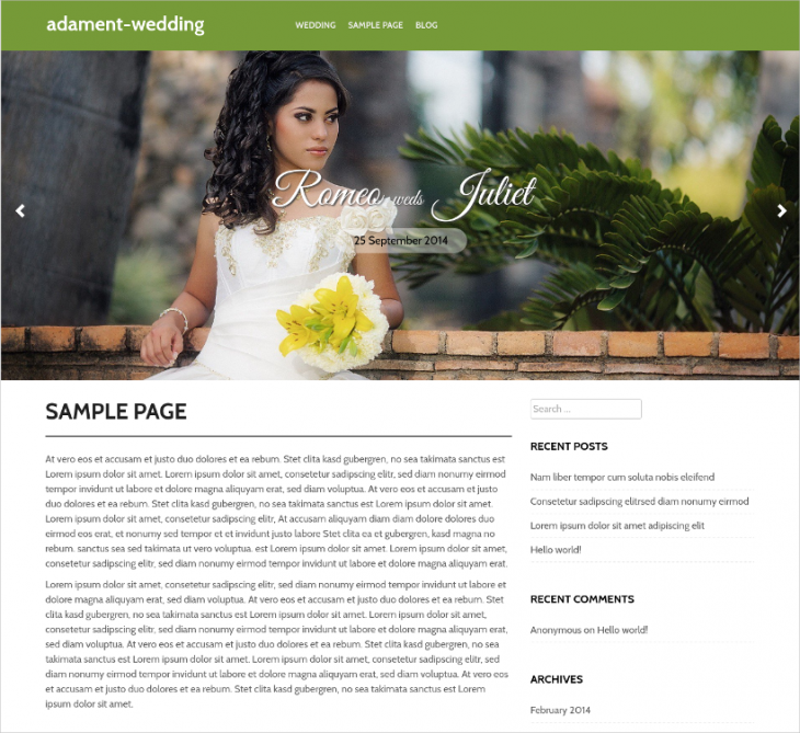 Free Wedding Event WP Template