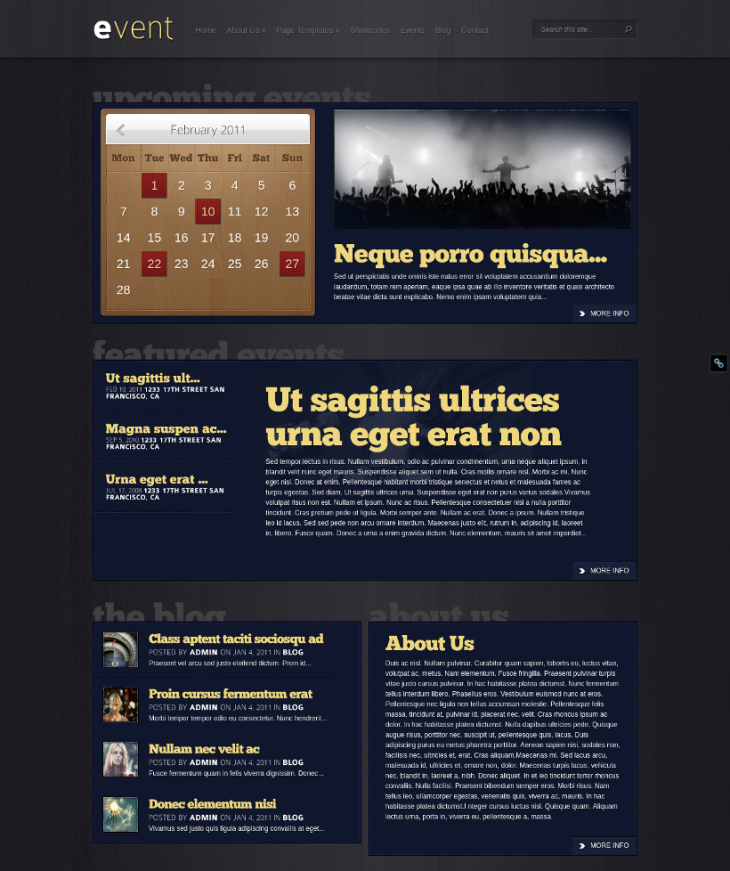 Event WordPress Theme With Calendar