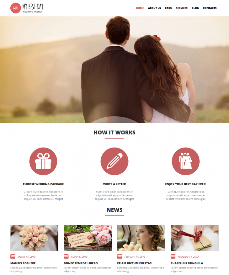 Clean Structured Event Planner WordPress Template