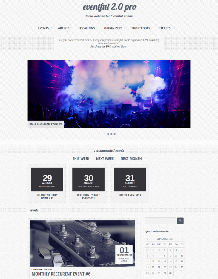 professional event manager wordpress theme