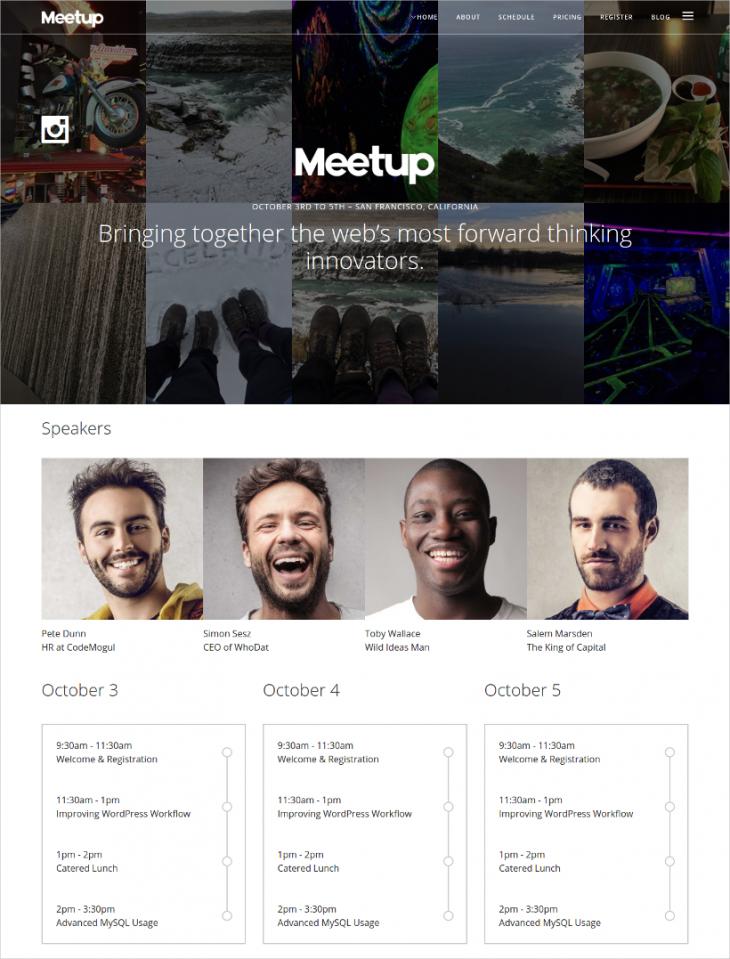 Lightbox Event WordPress Theme