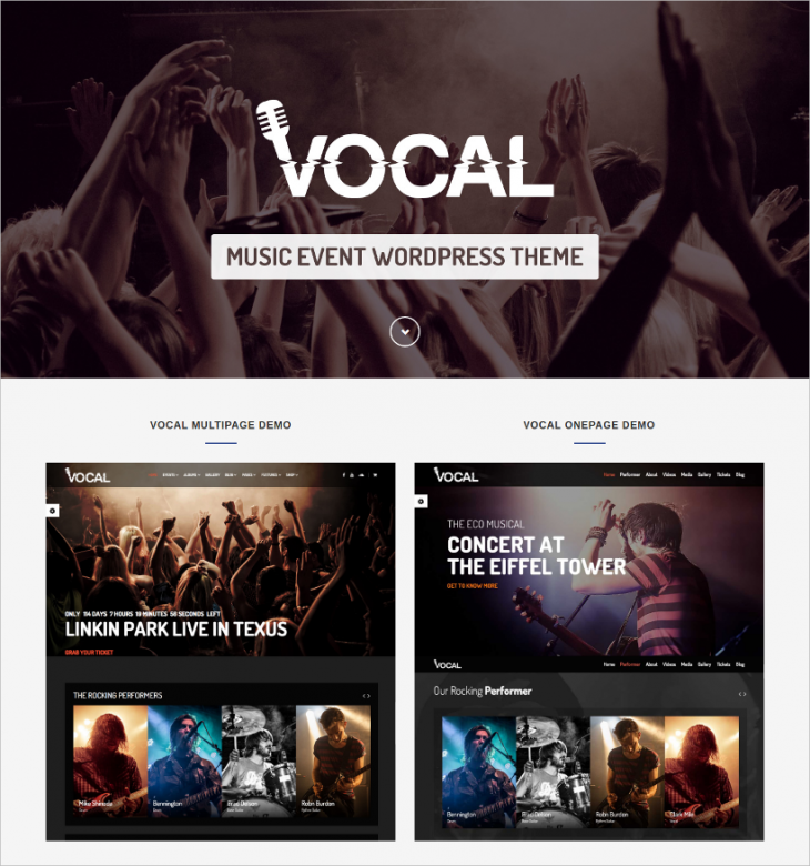 one page layout music event wp template