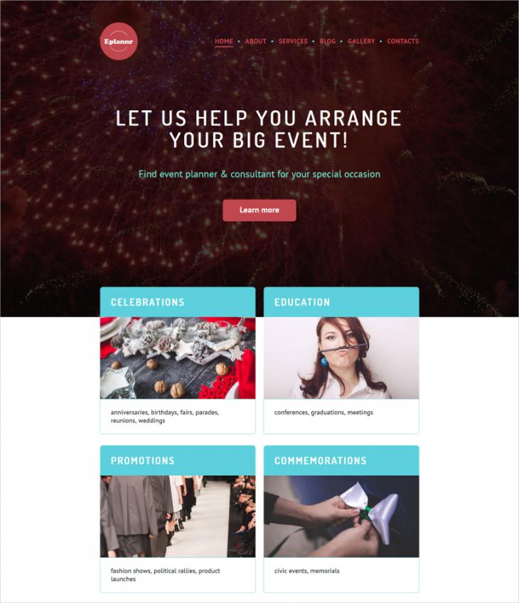 Retina Ready Event Planner WordPress Theme