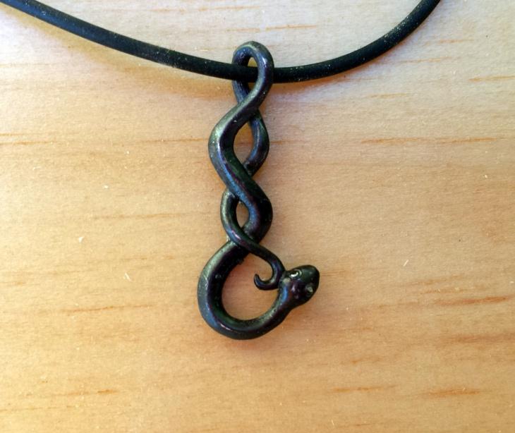 Black Snake Pendant Necklace
