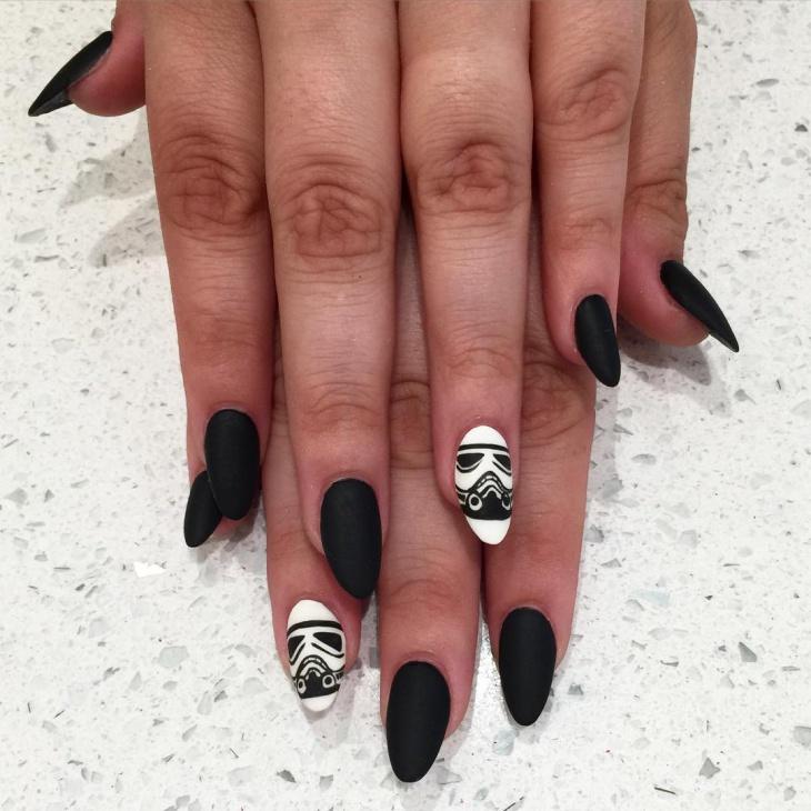 black and white star wars nail art