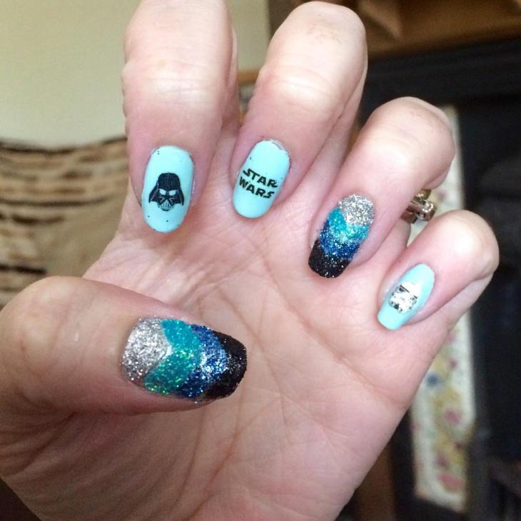 glitter star wars nail art