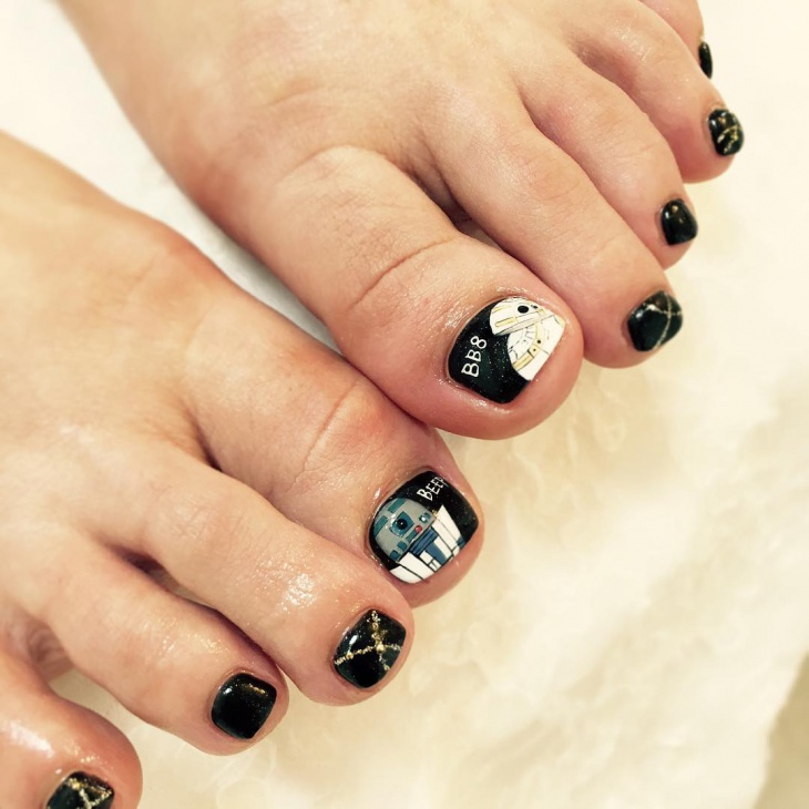 star wars toe nail art