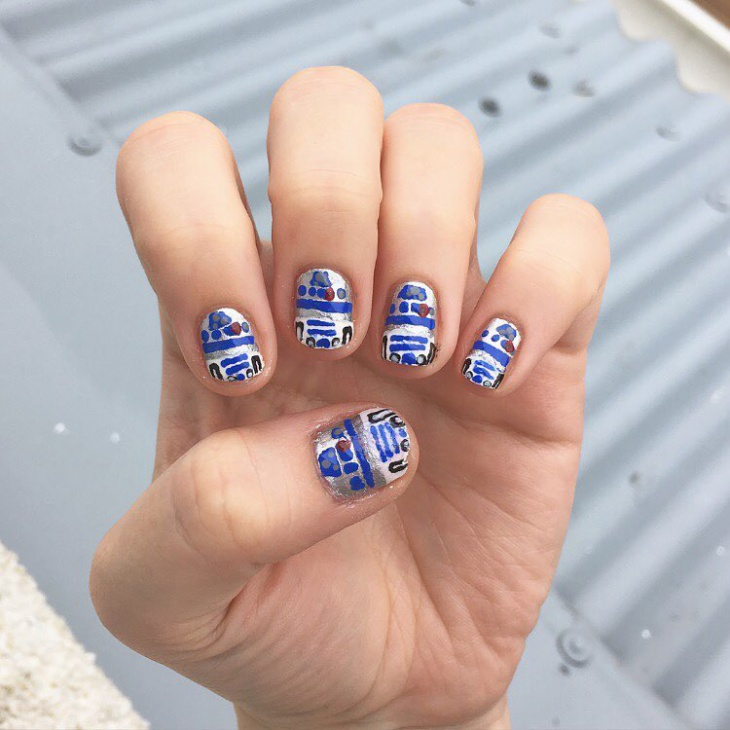blue star wars nail design