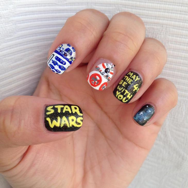 mismatched star wars nail art