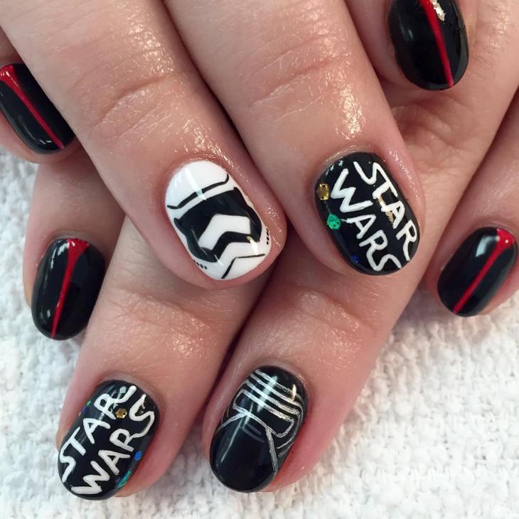 classy star wars nail design
