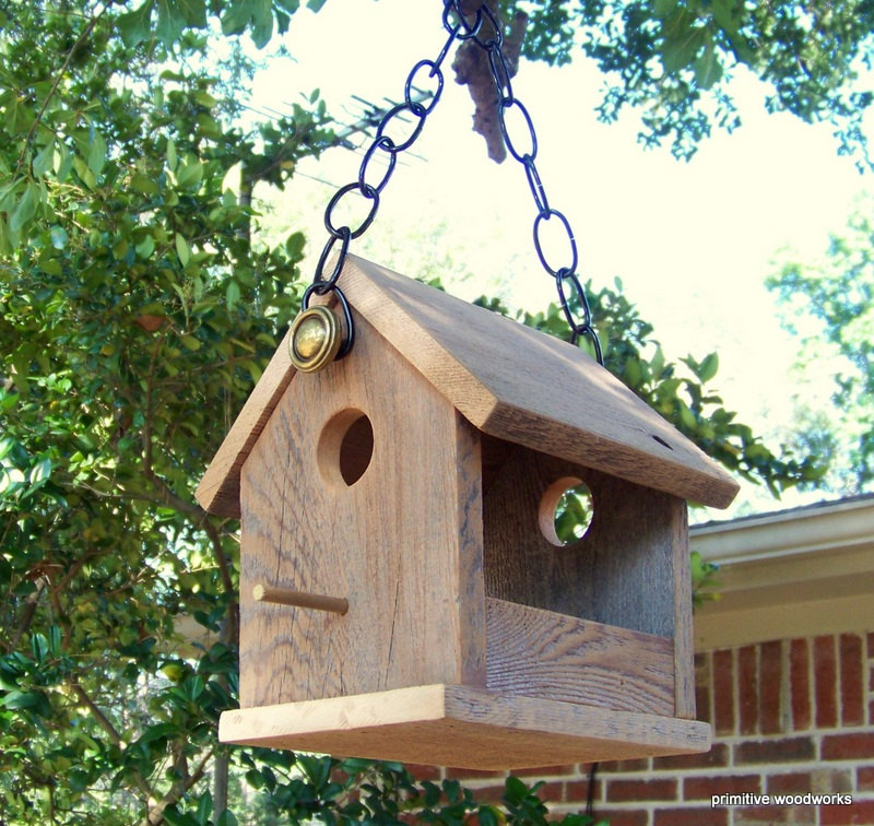 rustic hanging birdhouse