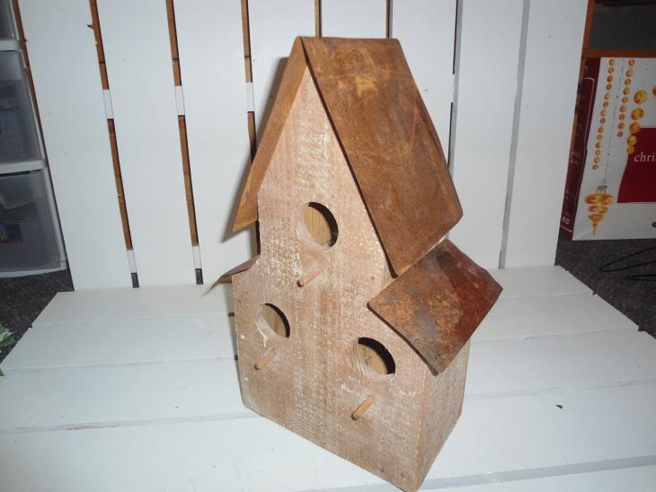 diy rustic wood metal birdhouse