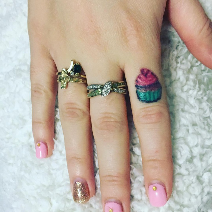 cupcake finger tattoo