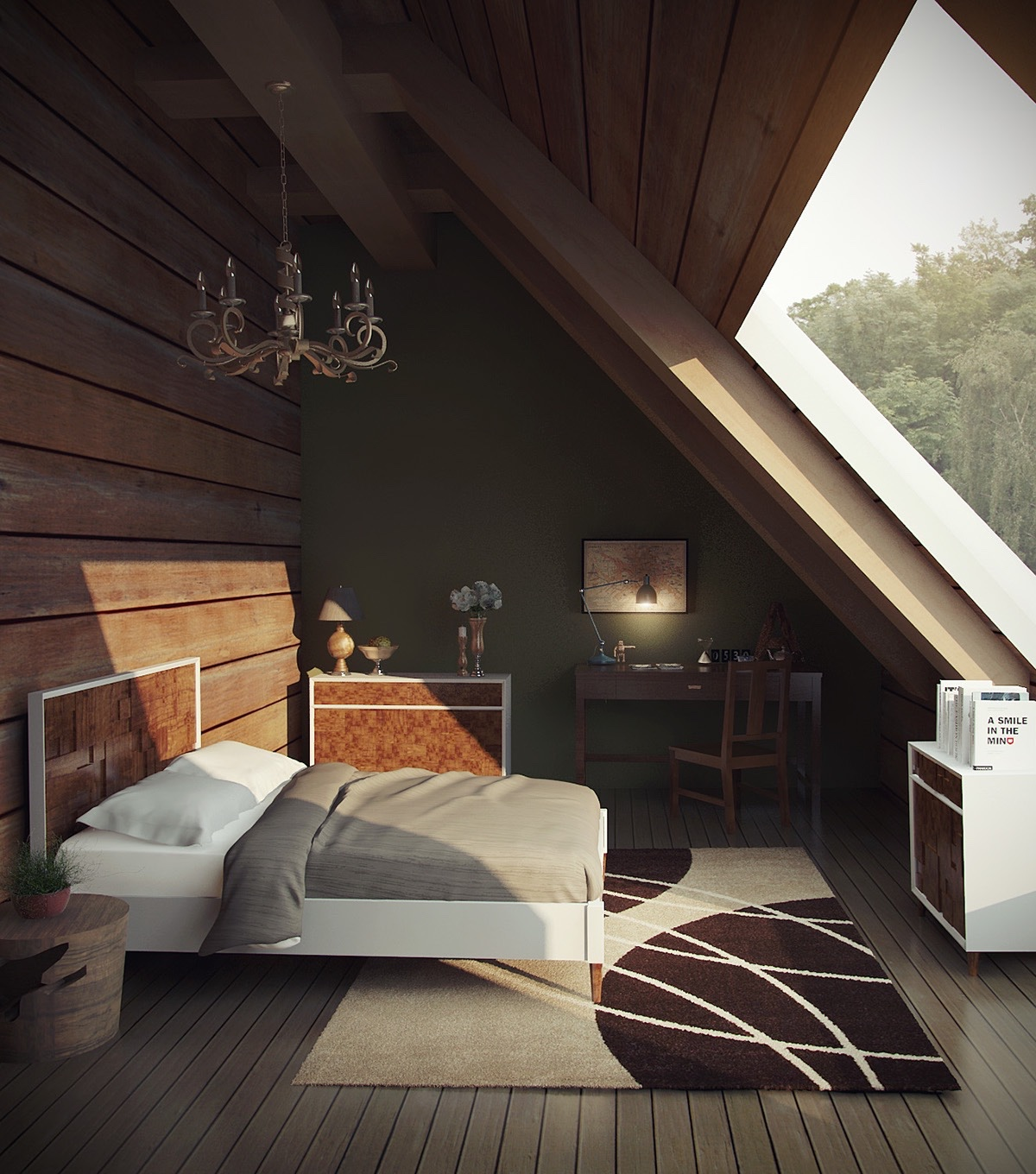 18 loft style bedroom designs ideas design trends premium psd vector downloads - Attic bedroom design ideas with wooden flooring ...
