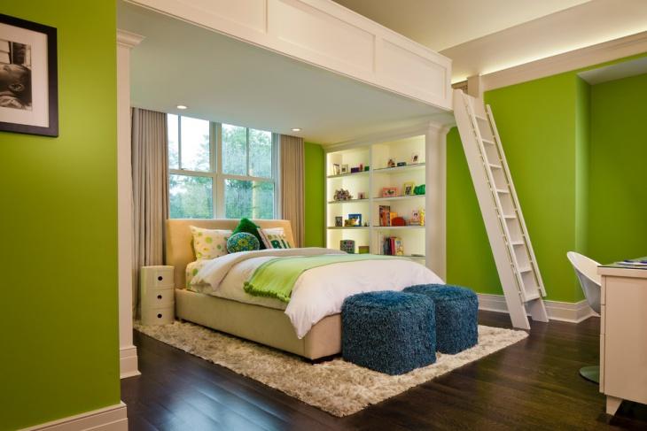 green room loft bedroom design
