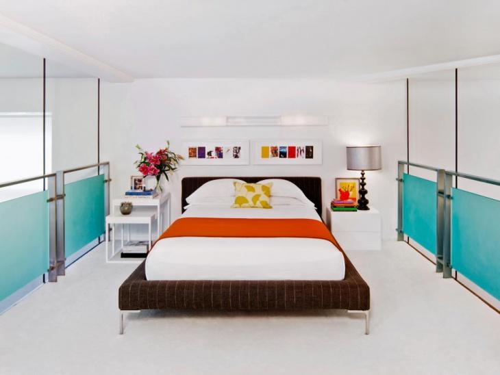 white modern loft bedroom design