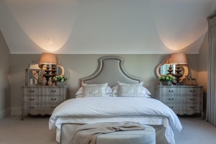 gray loft bedroom design
