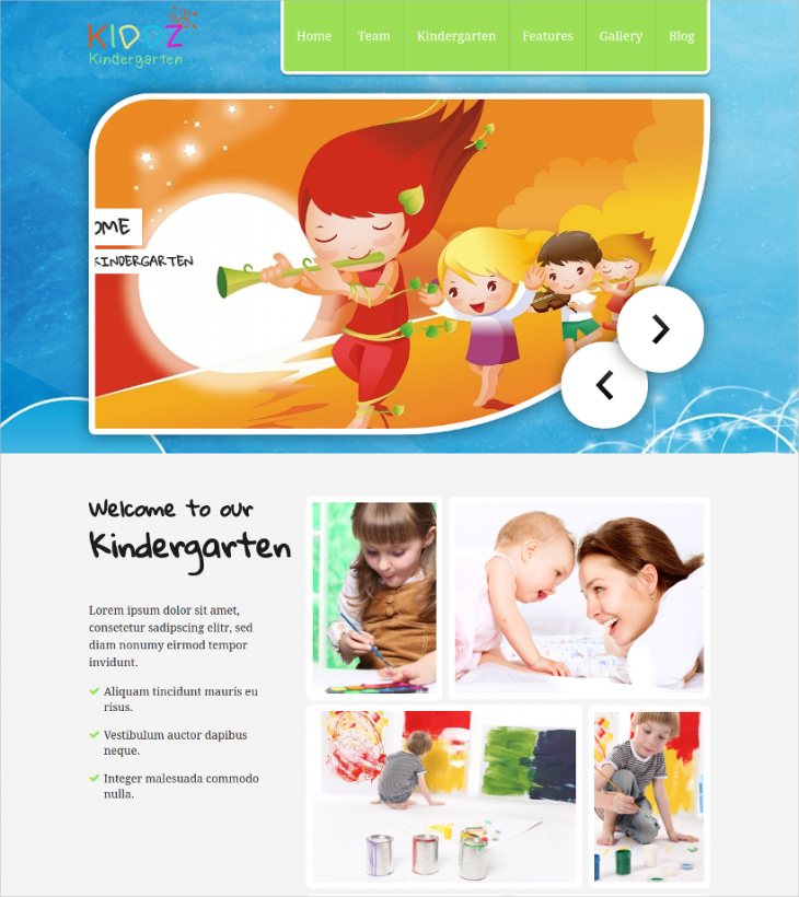 modern kindergarten wp template