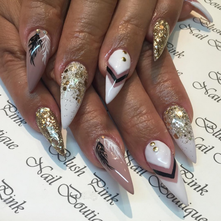 feather nail art for pointy nails