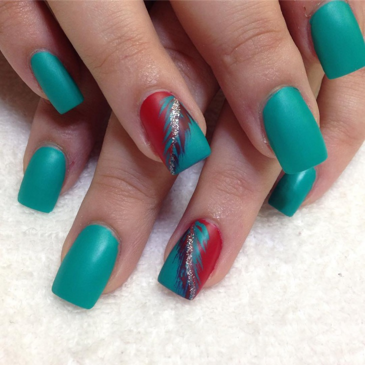red feather nail manicure