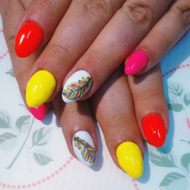 colorful feather nail design