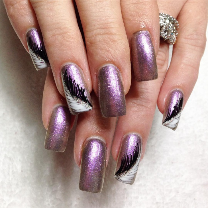 diy feather nail art design