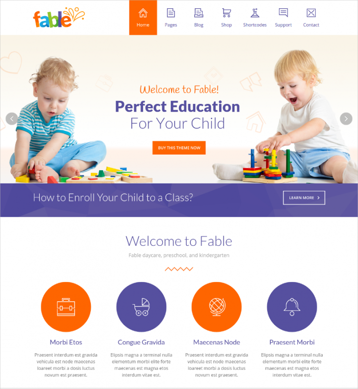 responsive kindergarten wordpress template