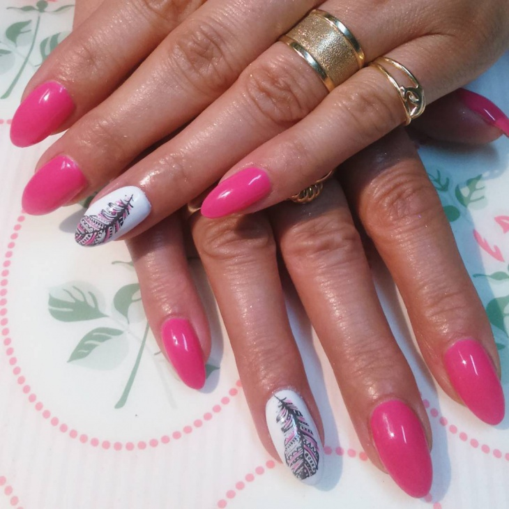 simple feather nail design idea