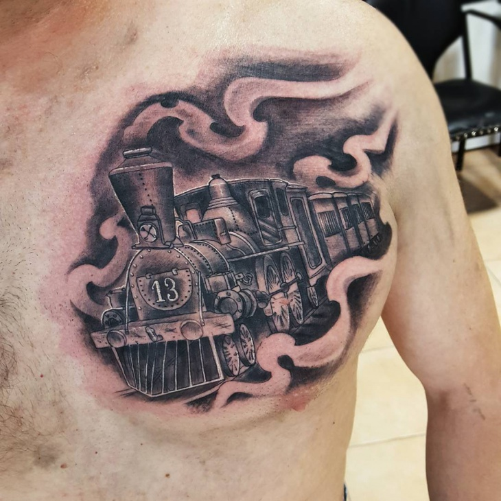 Train Engine Tattoo Design