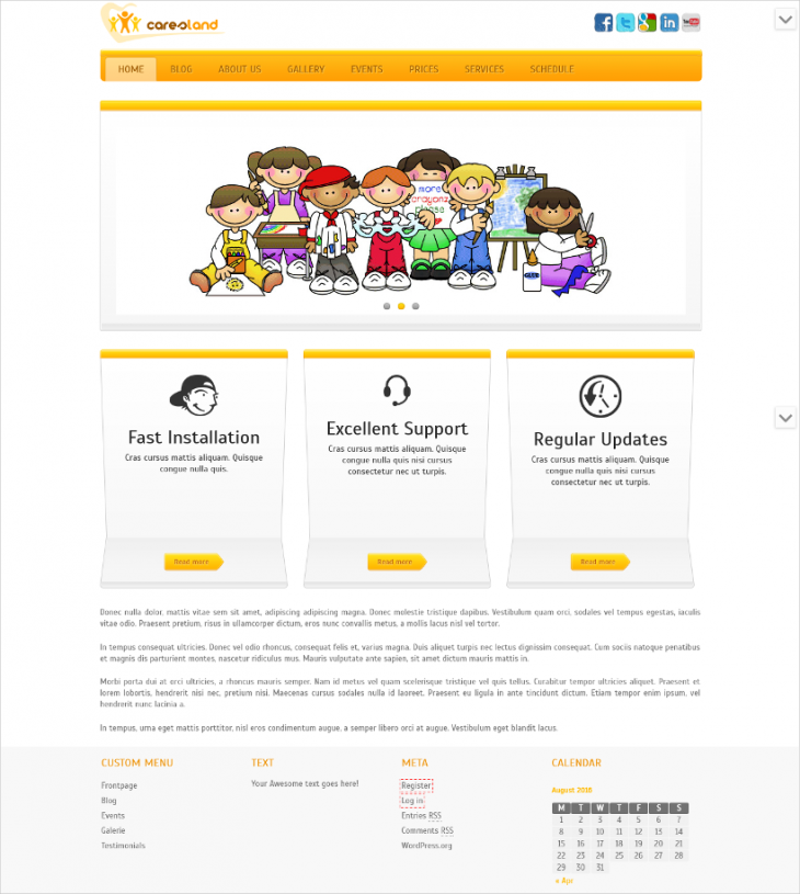 stunning multi purpose kindergarten wp theme