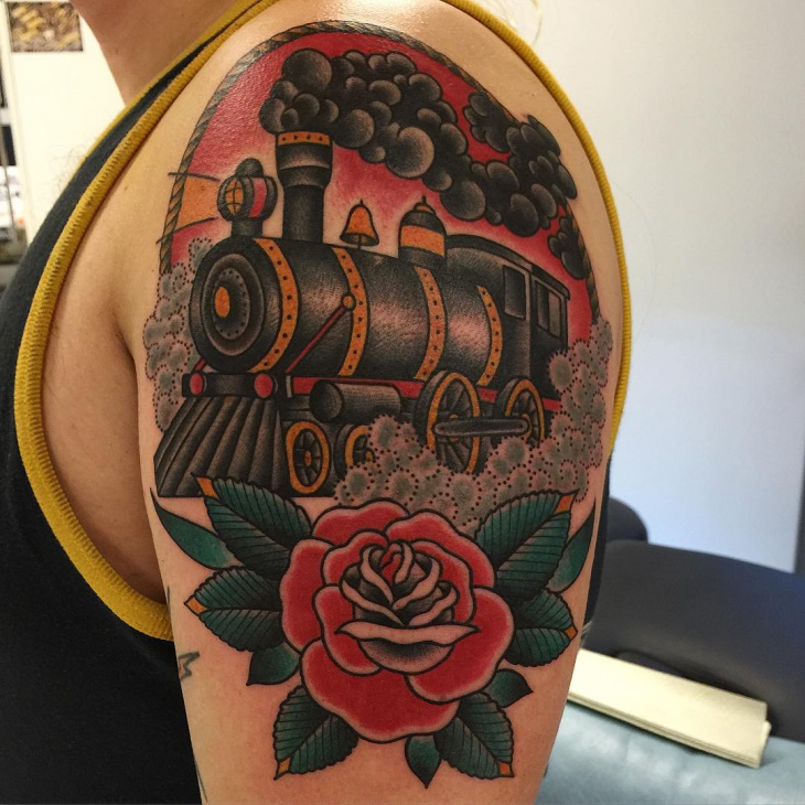Awesome Train Tattoo Design