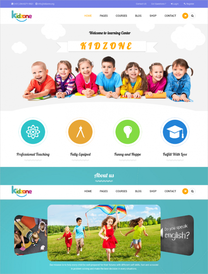 retina ready kindergarten wordpress theme